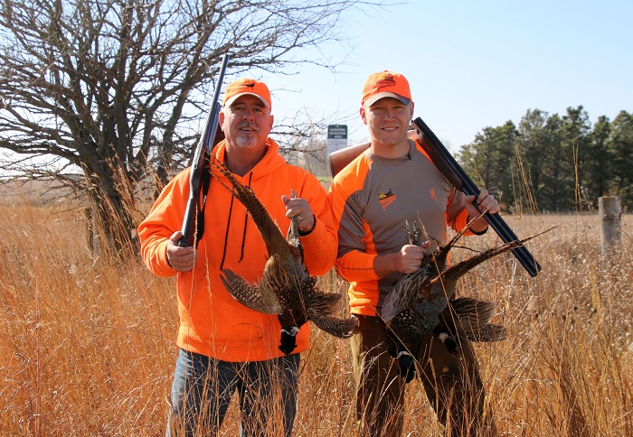 Scott Rall, president of the Nobles County (Minnesota) Chapter of Pheasants Forever, left, and Nick Hoffman after a day spent touring some of the more than 2,000 acres the chapter has helped permanently conserve and open to public hunting.