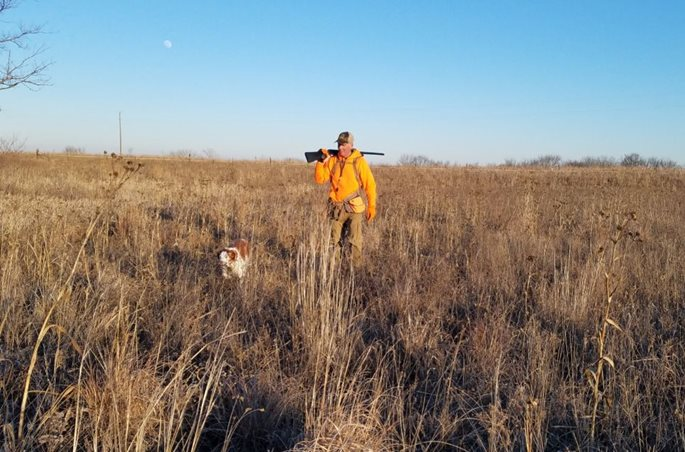 An upland hunter and his dog enjoy an IHAP experience last winter.