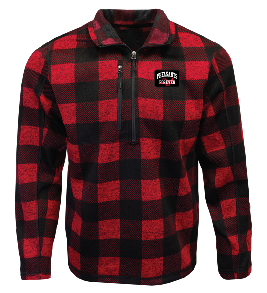 PF 1/4 Zip Sweater Fleece - Red/Black Plaid